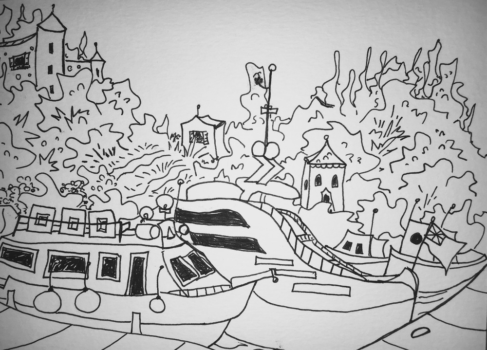 black and white line drawing of boats in Portofino, Italy by Katie Jurkiewicz