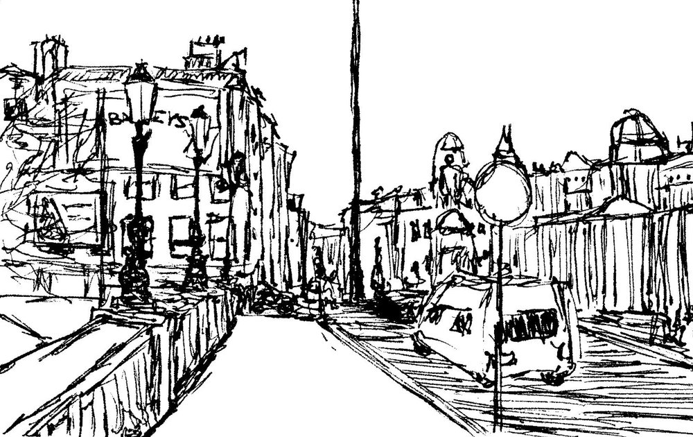 black and white line drawing Dublin, Ireland by Katie Jurkiewicz