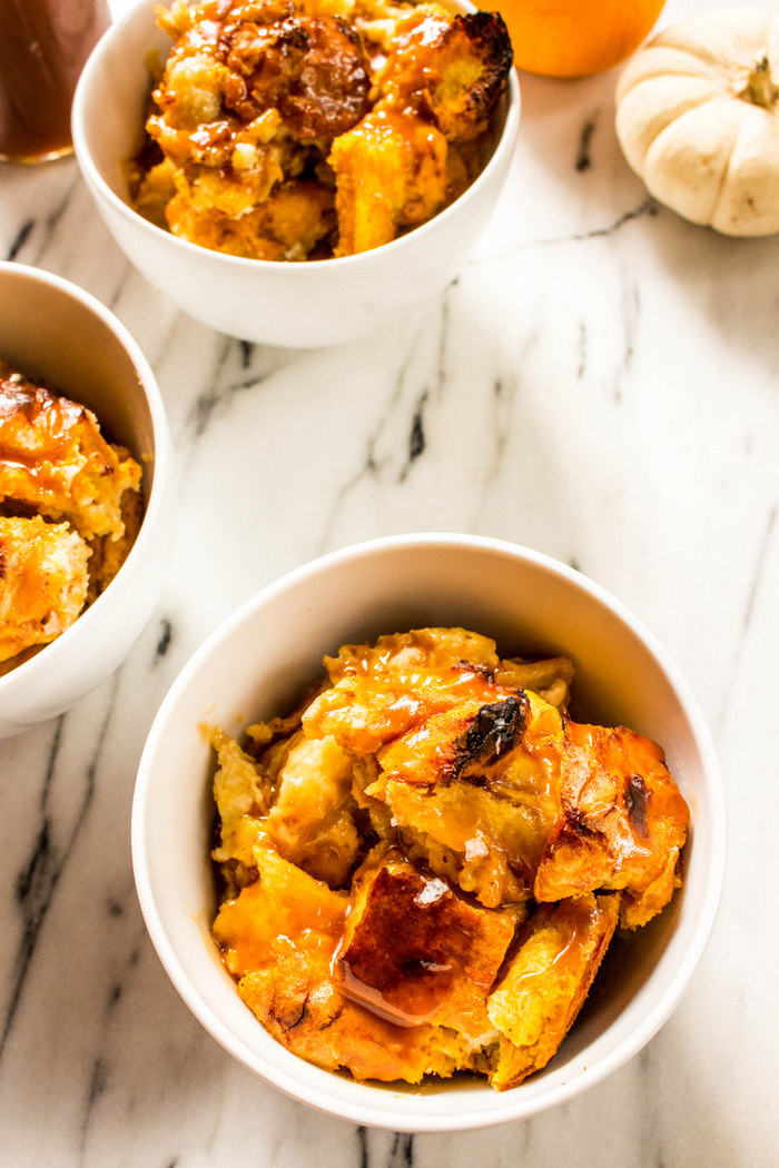 Pumpkin Bread Pudding with Salted Bourbon Caramel