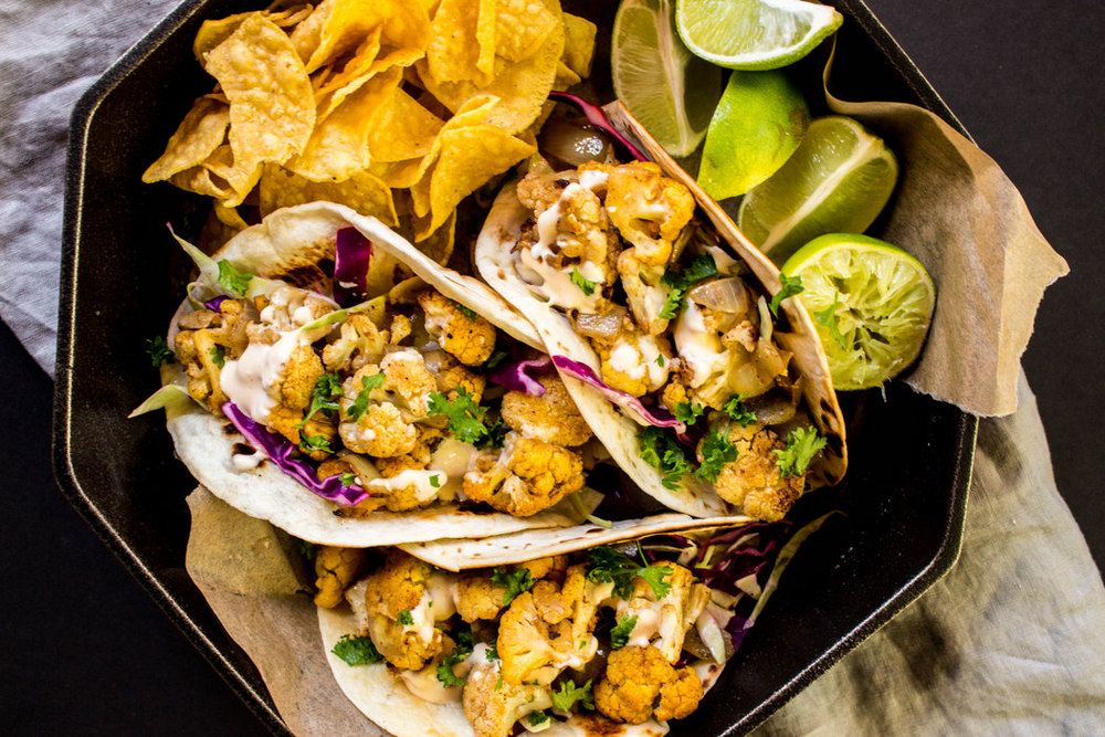 Spicy Cauliflower Beer Tacos