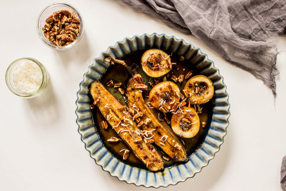 Grilled Pears + Bananas with Salted Brown Sugar + Pecans