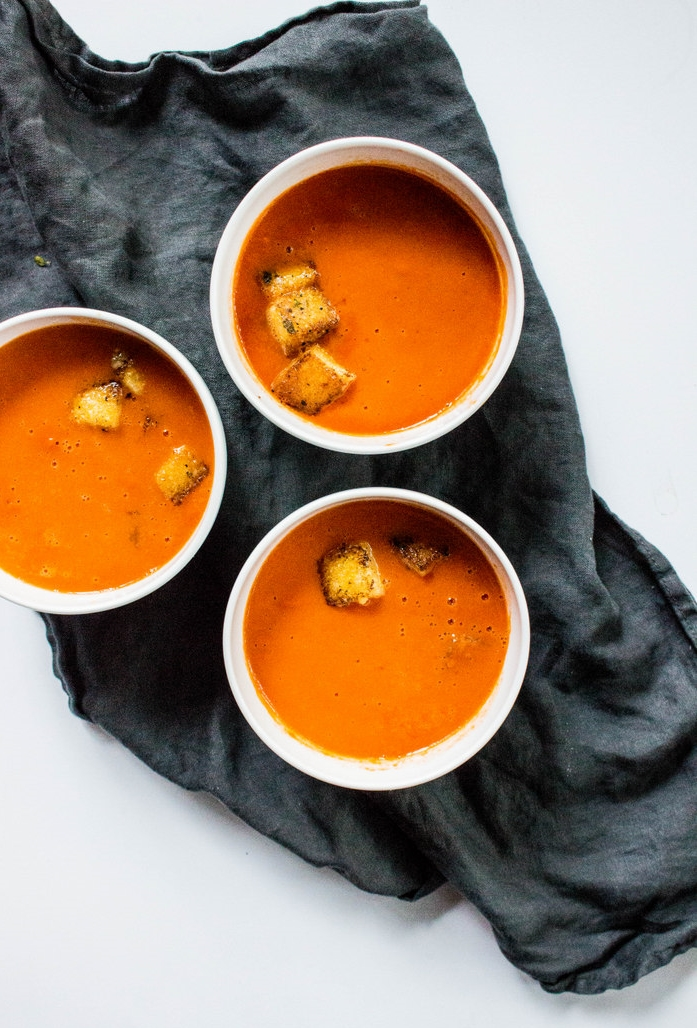 Creamy Tomato Soup with Polenta Parmesan Thyme Croutons-4.jpg