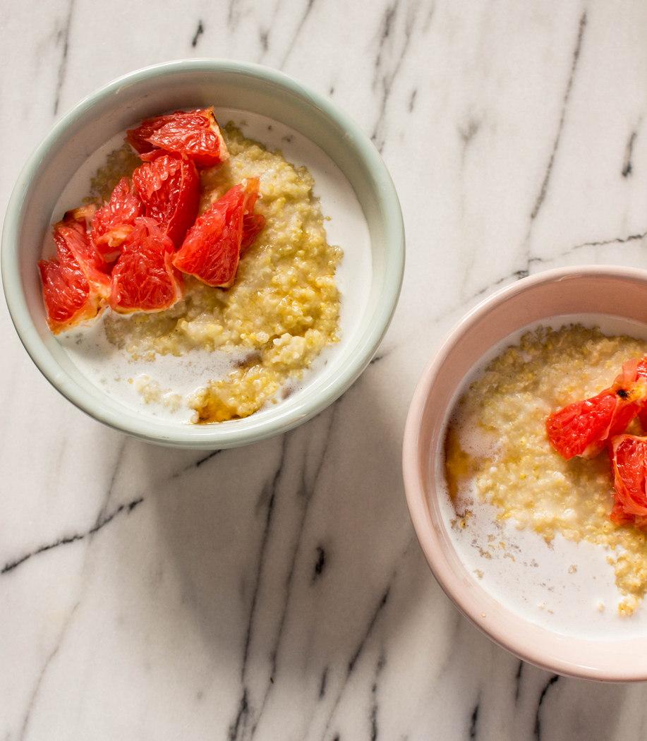 Millet Coconut Porridge with Roasted Grapefruit