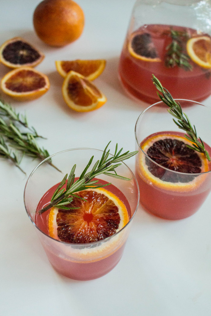 Blood Orange Gin + Tonic with Infused Rosemary Syrup