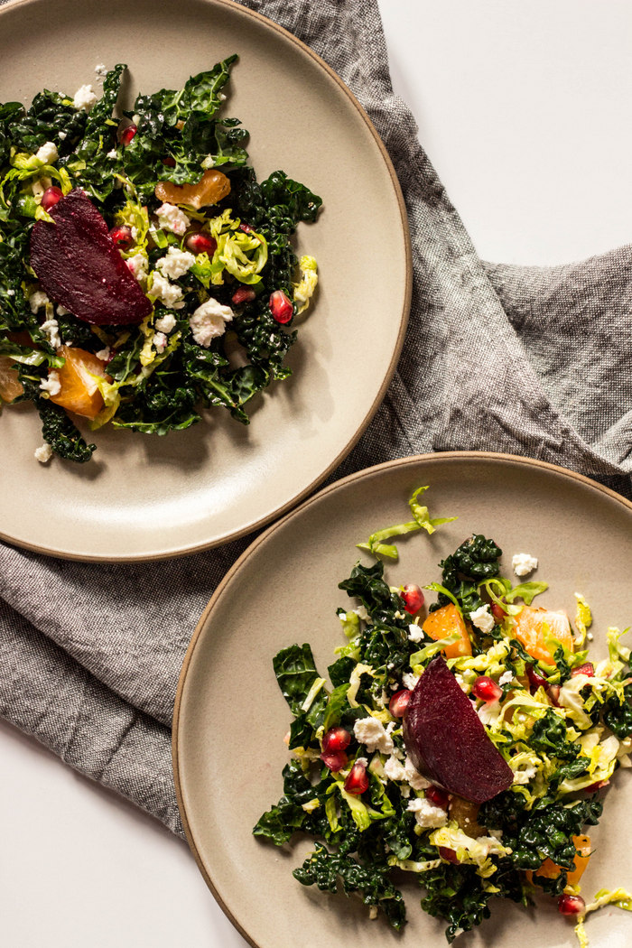 Shredded Kale + Brussels Sprout Salad with Beets and Oranges
