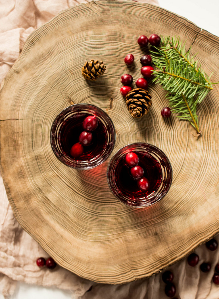 Cranberry Bourbon Cocktail with Doug Fir Syrup