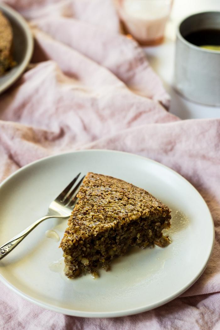 Pistachio Almond Flourless Cake with Maple Cream
