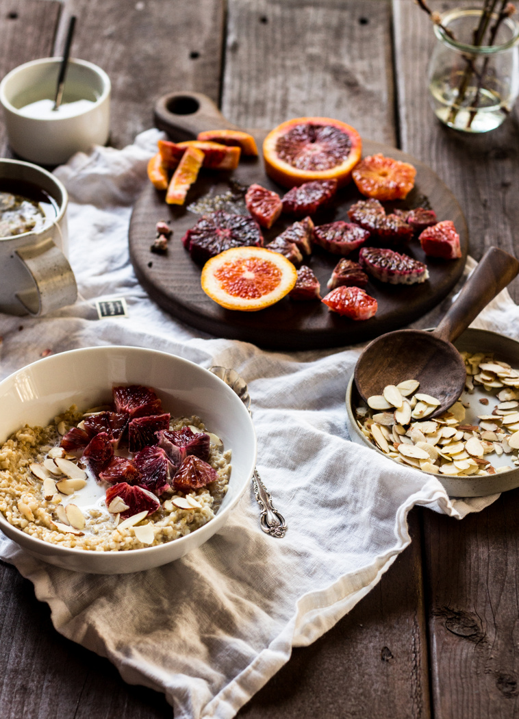 Blood Orange Almond Steel Cut Oats with Orange Blossom Syrup