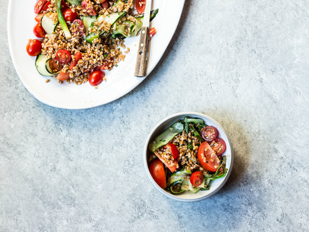Farro + Tomato Salad with Fish Sauce Vinaigrette