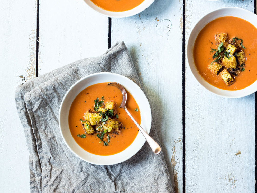 Tomato Basil Soup with Cornbread Croutons