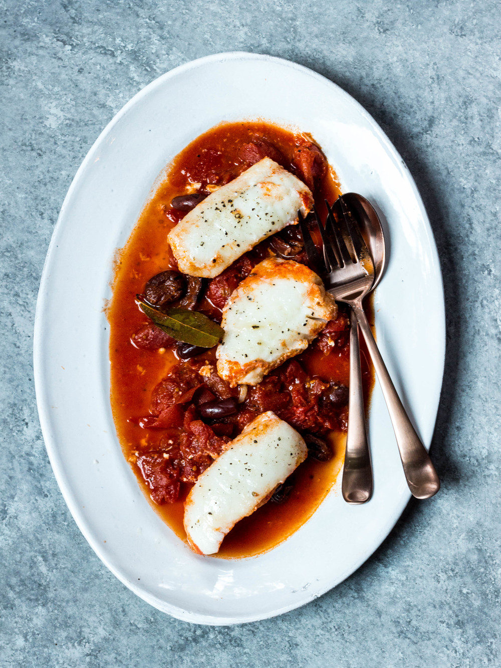 Poached Halibut in Tomato Sauce + Olives