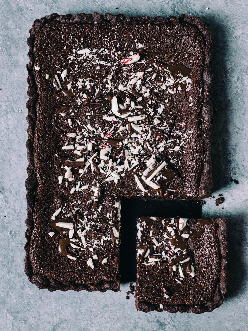 Chocolate Tart with Peppermint Bark Crust