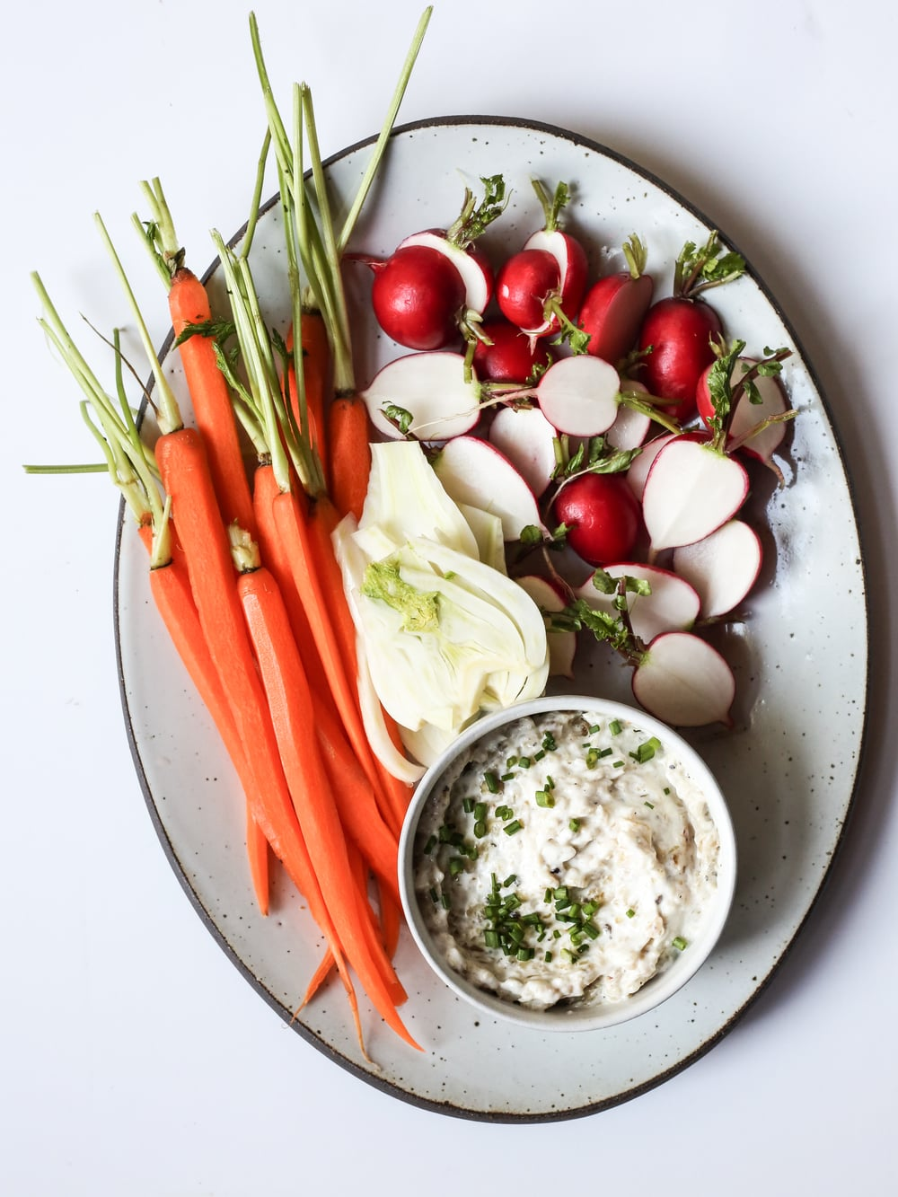 Crudités with Caramelized Shallot Yogurt Dip