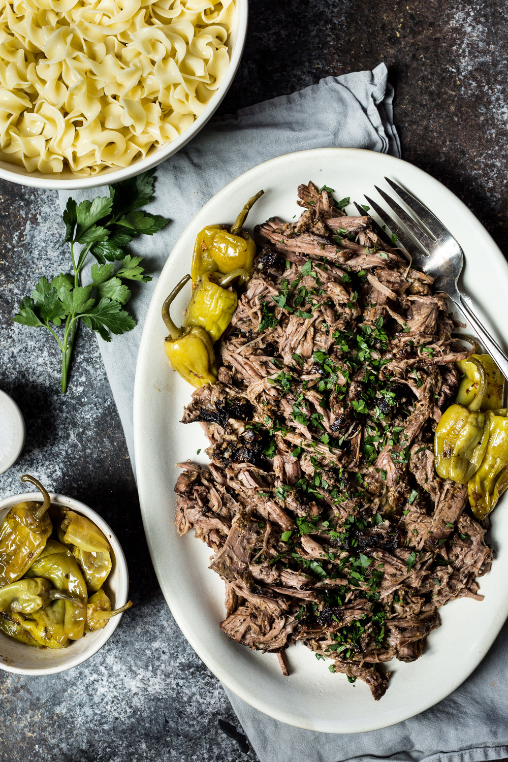 Tender Roast with Noodles + Parsley