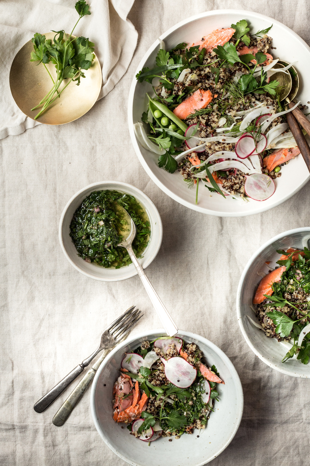 Salmon over Herbed Grains with Salsa Verde