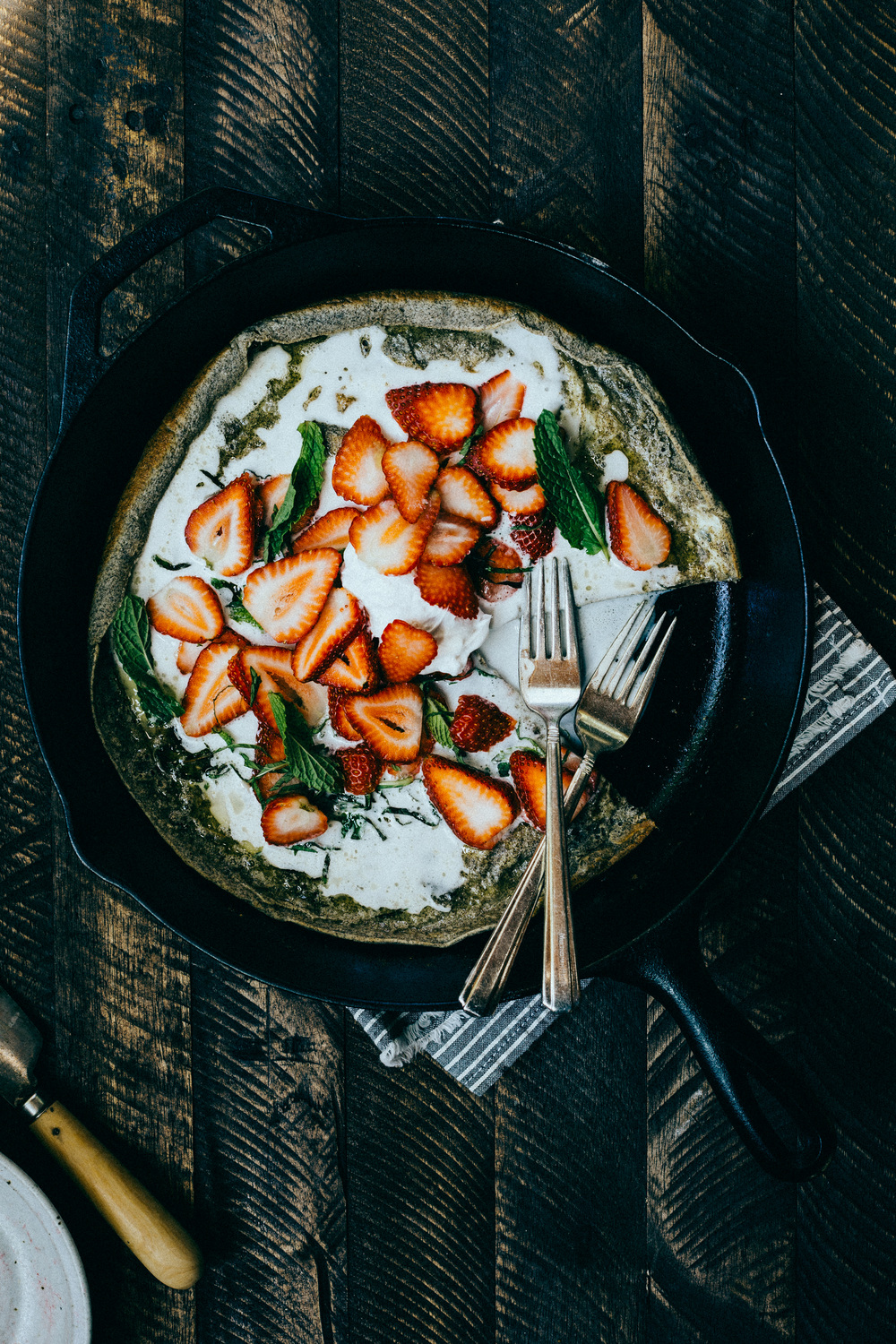 Buckwheat Dutch Baby with Strawberries + Mint