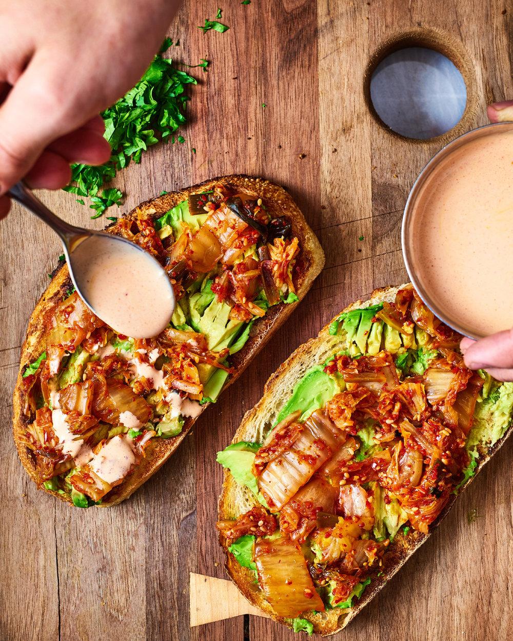 Avocado + Kimchi Toast