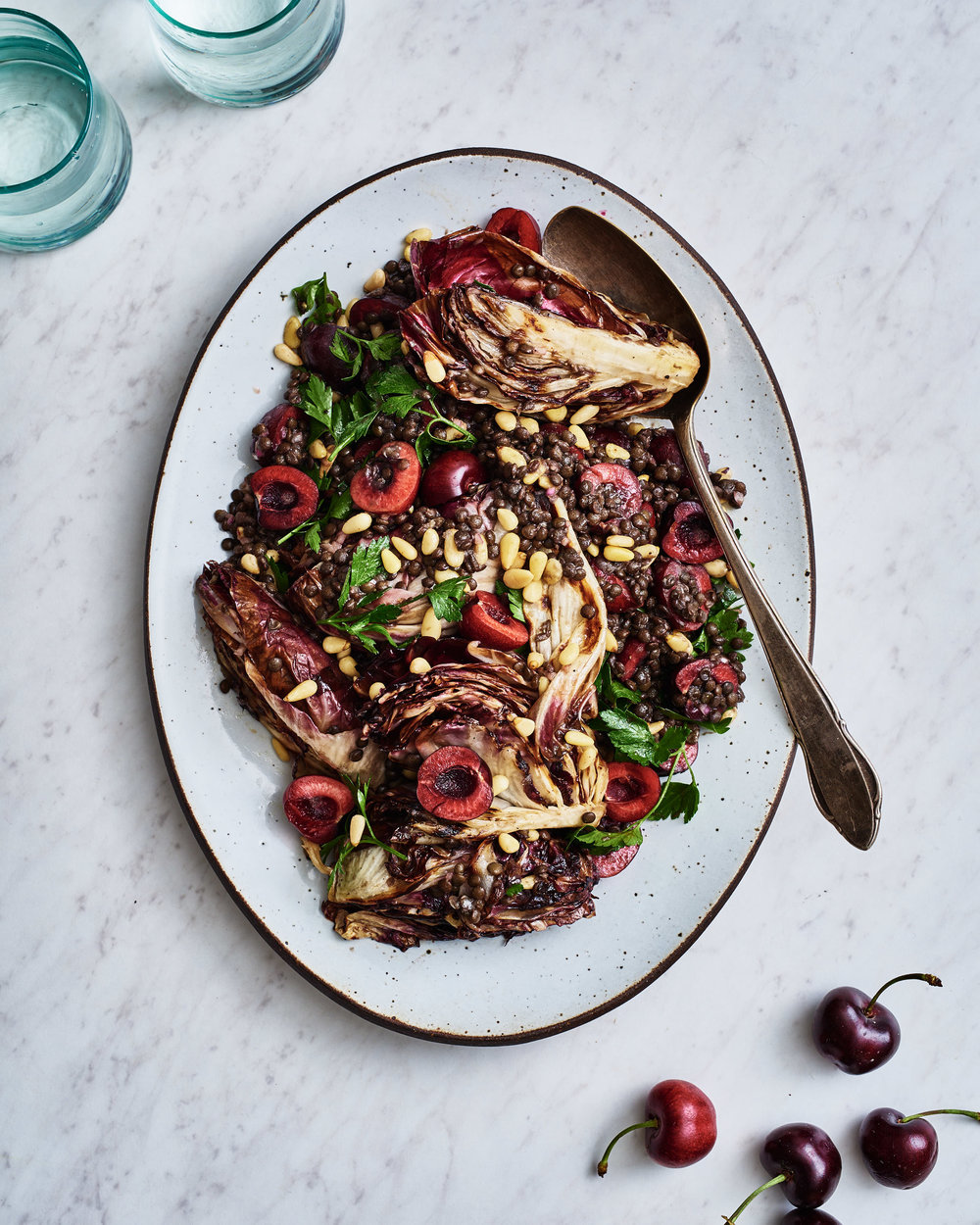 Grilled Radicchio with Lentils, Cherries + Pine Nuts