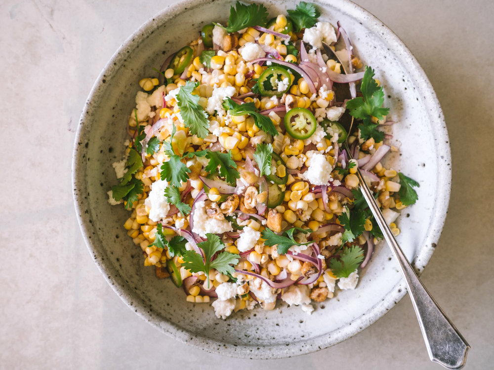 Corn Salad with Peppers, Cheese, and Corn Nuts || Local Haven