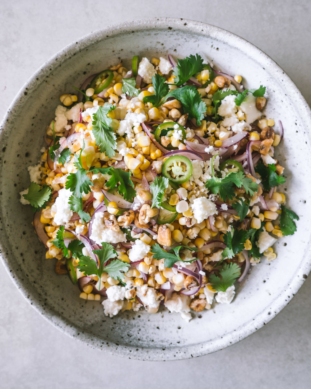 Corn Salad with Peppers, Cheese and Corn Nuts