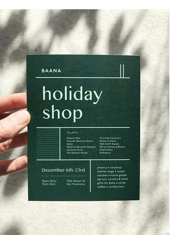 Stop by @baana.co through Dec 23rd to stock up on soap, candles and other beautiful things for the holidays. Open daily!