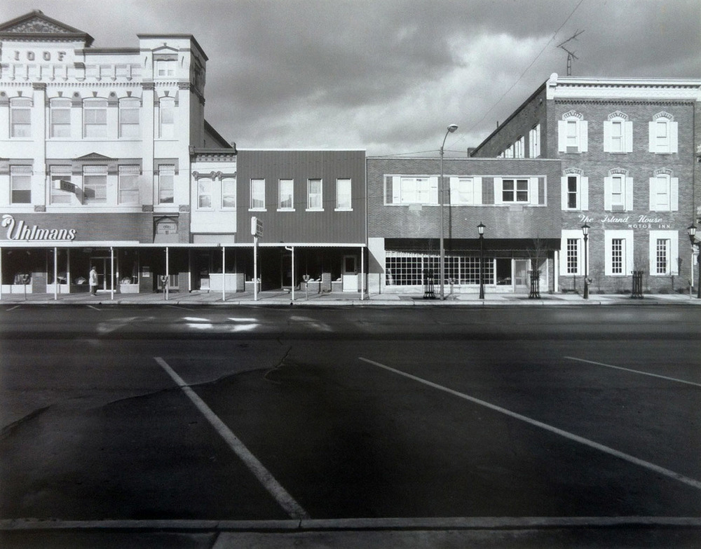 "Downtown Port Clinton, Ohio, circa 1987. 20"" x 24"" silver print."