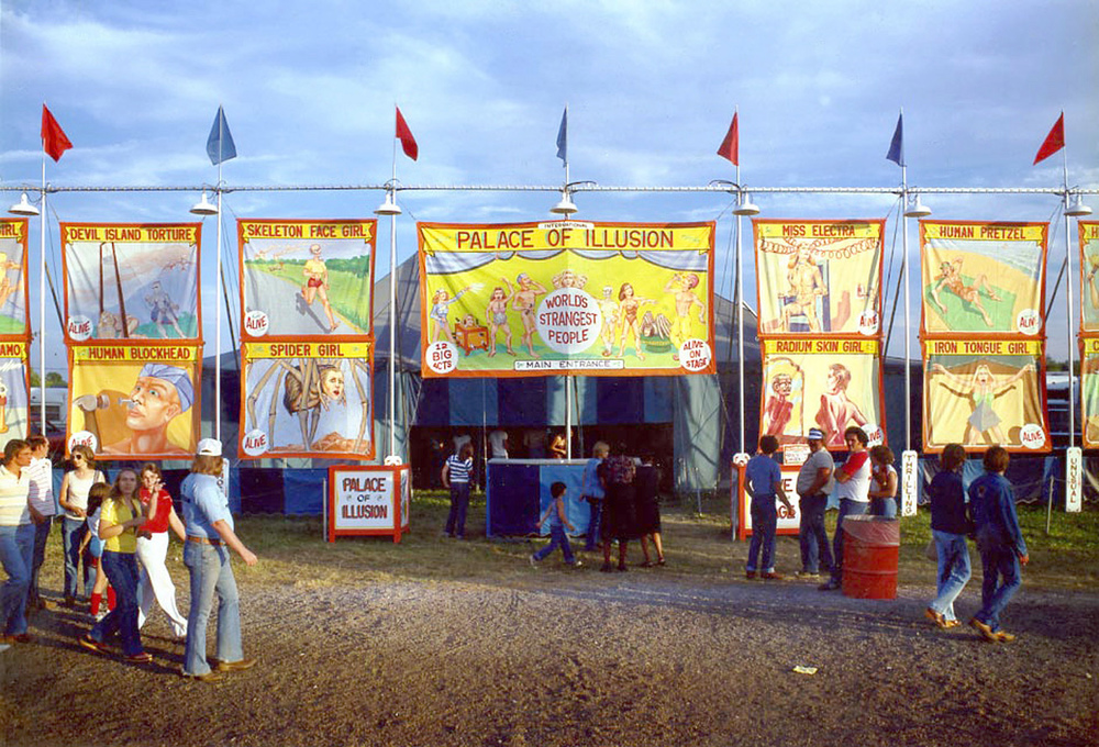 Palace of Illusion, a side show operated by Tim Deremer Productions, based in Ohio, ca. 1980. It featured a banner line of 17 banners. Among the shows I painted were Gabora the Gorilla Girl, Myrna the Mermaid and Strange Little People. Many of the original banners are still in use.