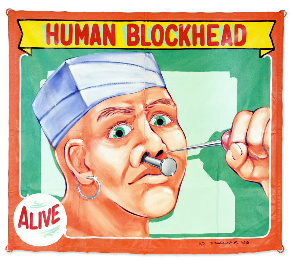 The Human Blockhead, 7' x 8', Painted in 1983, Cleveland. One Shot lettering enamel, cut with boiled linseed oil, on canvas.