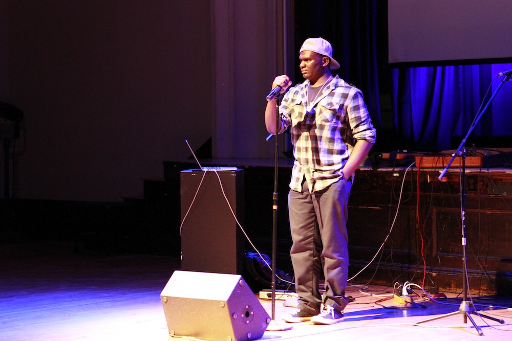 Lewis M. performs spoken word at the premiere of Geena Matuson's (@geenamatuson) thesis film 'My Big Bad Wolf' at Massachusetts College of Art & Design, 2013.