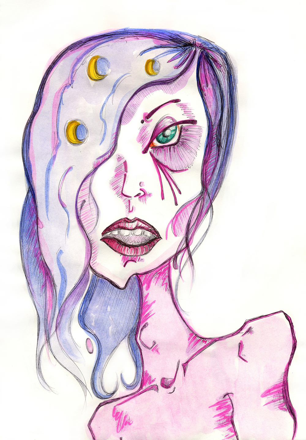 "3 Moons In Her Hair  Pen, Watercolor + Colored Pencil,  9 x 12"" / Geena Matuson @geenamatuson"
