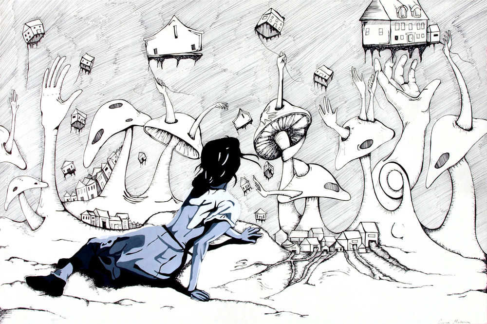 "Christina's Nightmare  Pen + Gouache, 24 x 36"" / Illustration by Geena Matuson @geenamatuson"