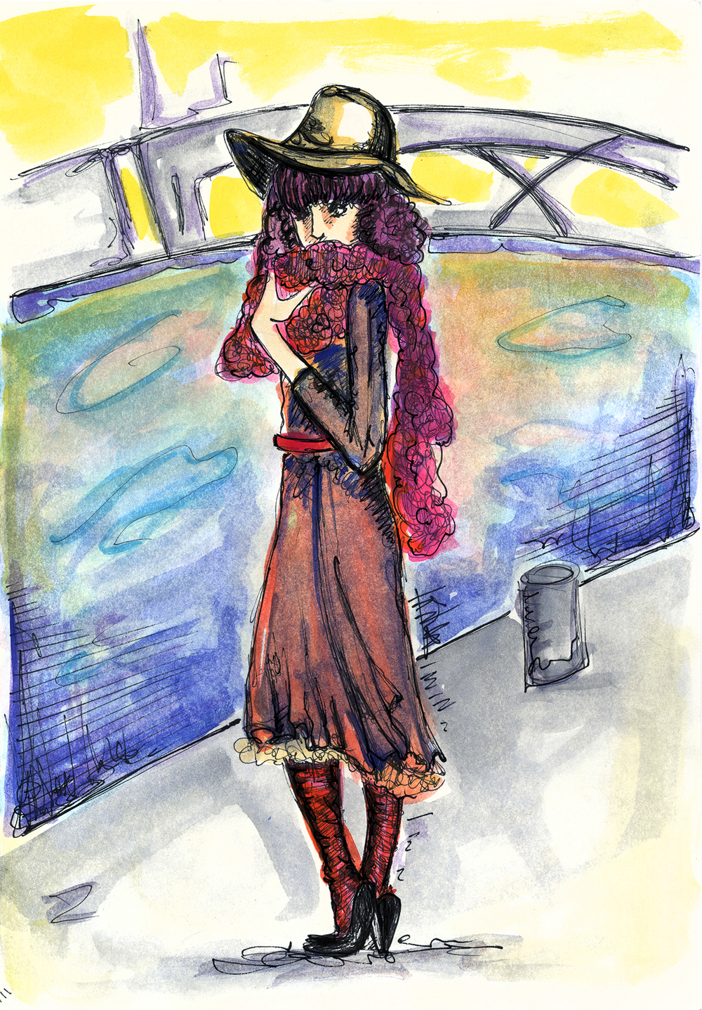 """A Parisian  Pen + Watercolor, 9 x 12"""" / Geena Matuson @geenamatuson"""