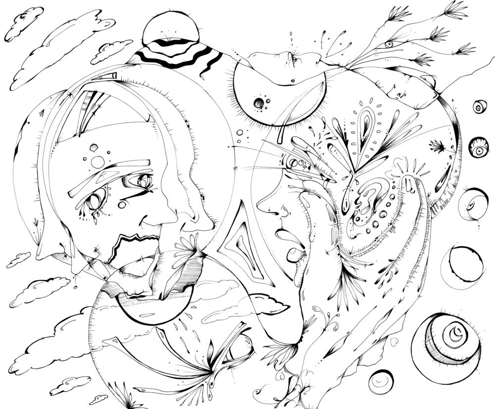 "Our Worlds Collide  Pen, 14 x 17"" / Illustration by Geena Matuson @geenamatuson"