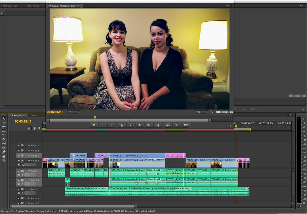 Screenshot of Geena Matuson's (@geenamatuson) post-production work on Amor Sangre, 2014.