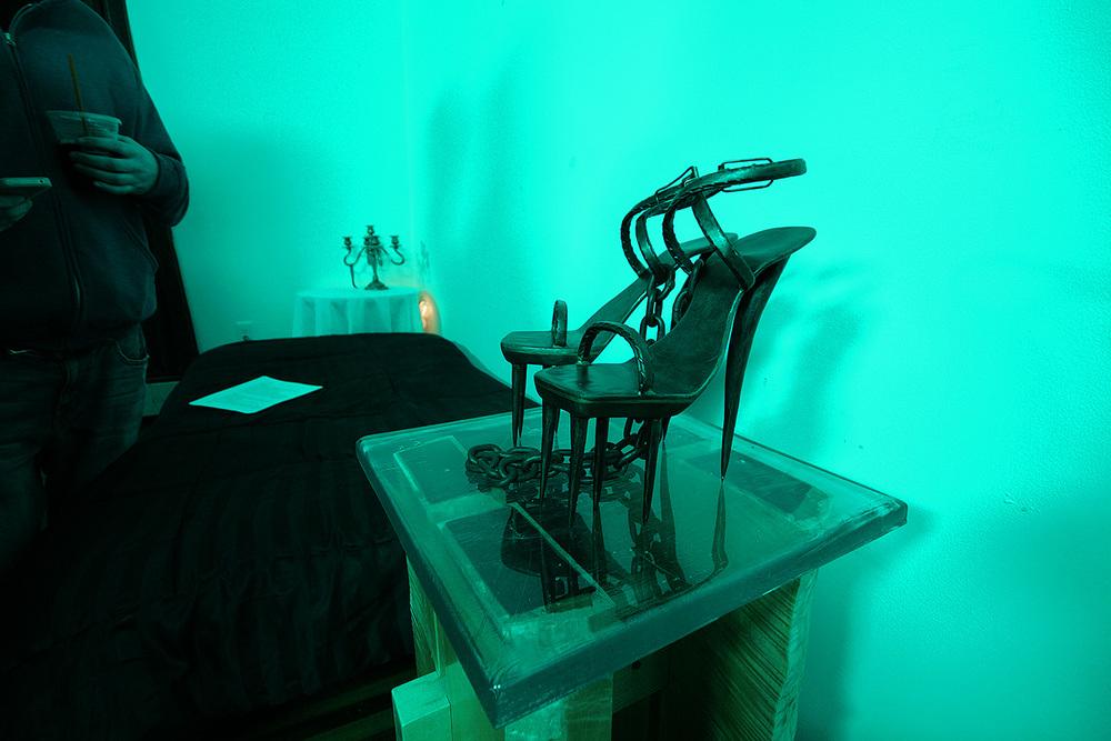 Metal spike heels, art by Eric Legacy, on the set of Disregard The Vampire, 2014.