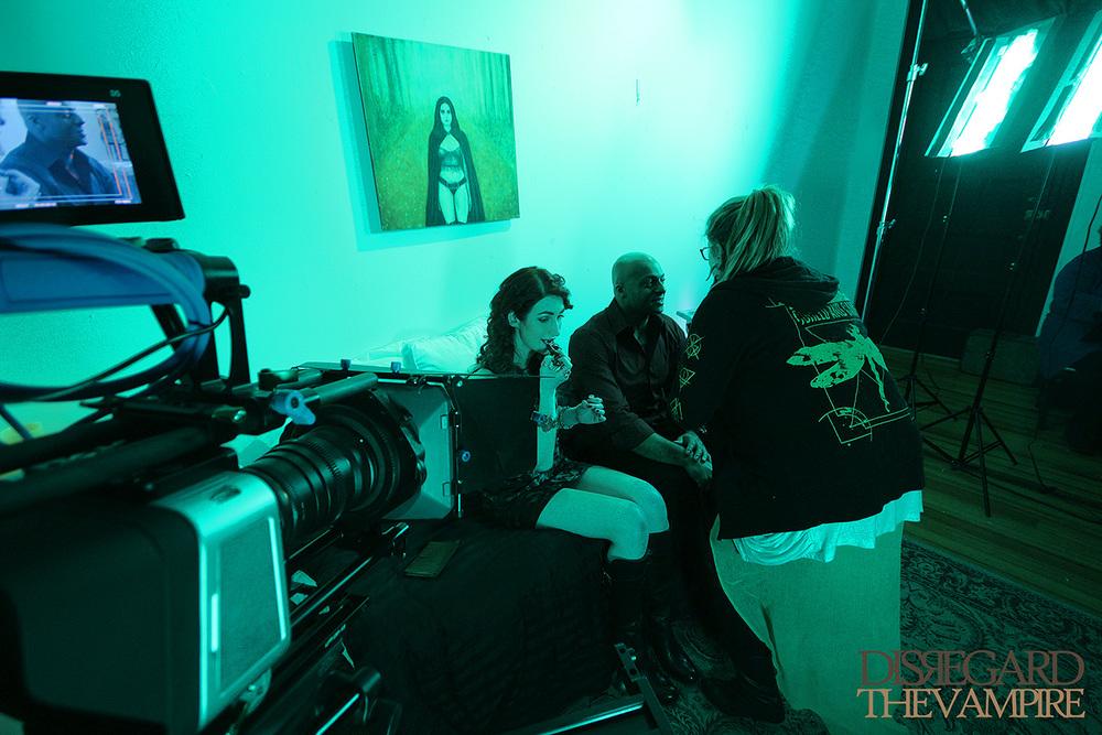 H/MUA Katie Ciampa with actors before the next scene in Disregard The Vampire, 2014.