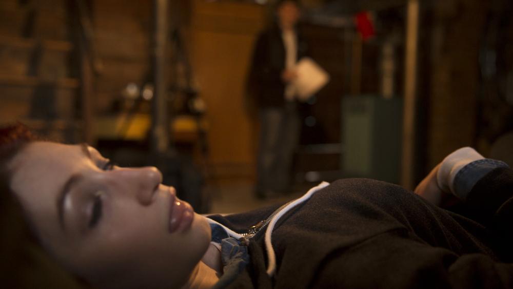Director  Geena Matuson  (@geenamatuson) and P.A. Alex Sanfilippo review scene blocking, 2014.