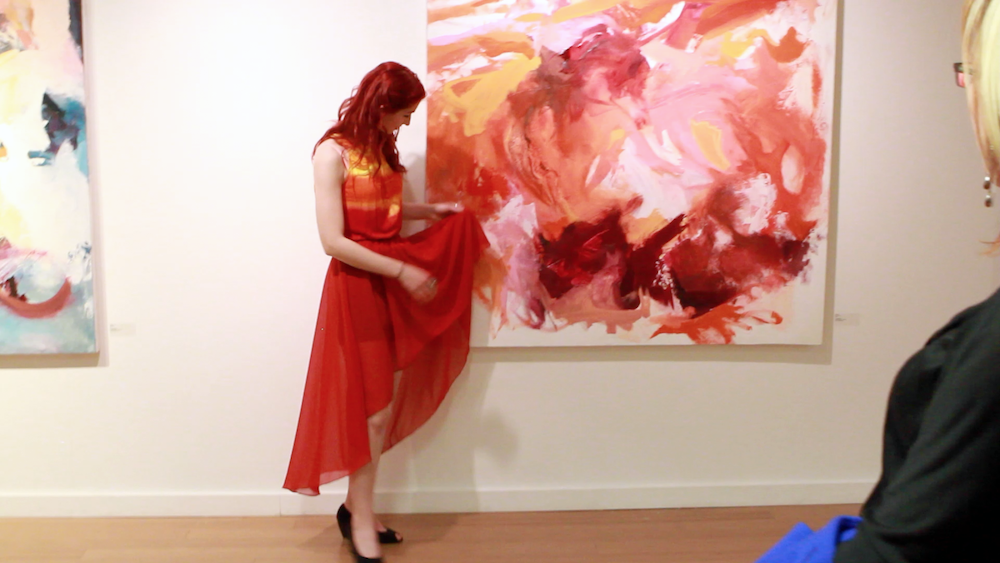 Geena Matuson (@geenamatuson) at her TransFIREmation Gallery Show & Installation in the MassArt Student Life Gallery, 2013.