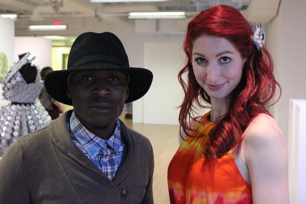 Geena Matuson with Sam Staxx the Rapper at Matuson's curated multimedia exhibition 'TransFIREmation', April 2013.