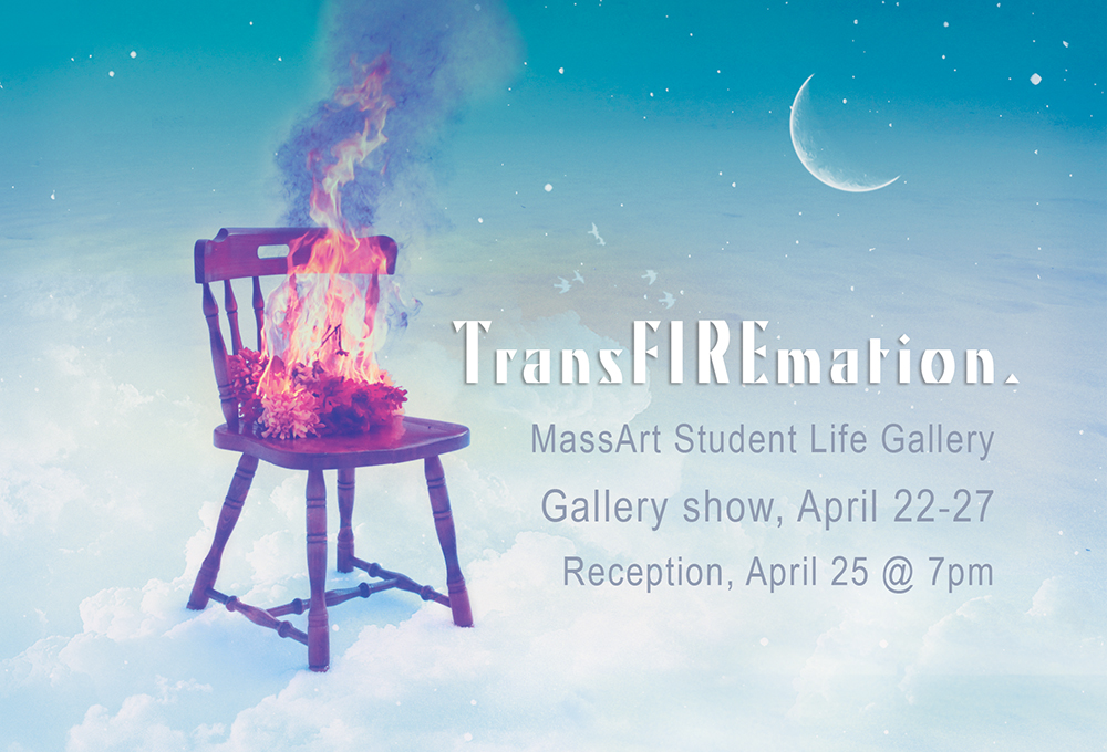 Postcard and marketing materials for Geena Matuson's (@geenamatuson) gallery show and installation 'TransFIREmation,' 2013.