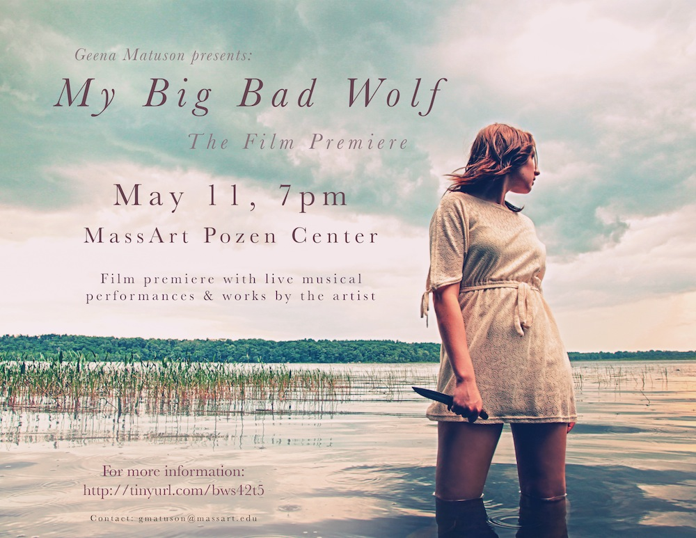 Marketing materials for Geena Matuson's (@geenamatuson) film premiere of 'My Big Bad Wolf,' May 11, 2013.