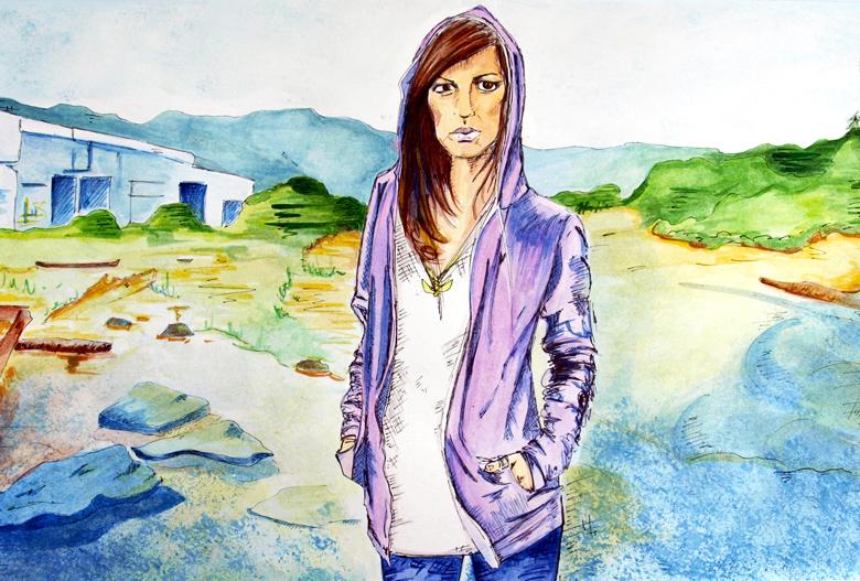 "Arizona 9.5 x 14"", Pen + Watercolor / Illustration by Geena Matuson @geenamatuson"