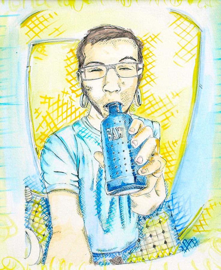 "Blue Bawls 9 x 11"", Pen + Watercolor / Illustration by Geena Matuson @geenamatuson"