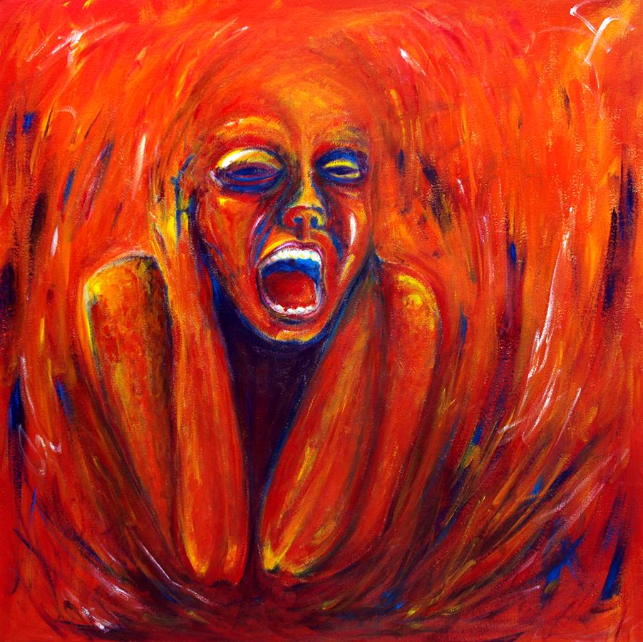 "The Fire 30 x 30"", Acrylic on Canvas / Illustration by Geena Matuson @geenamatuson"