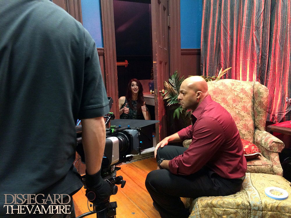 Geena Matuson and Jose Gonsalves on set of Disregard The Vampire, 2014.