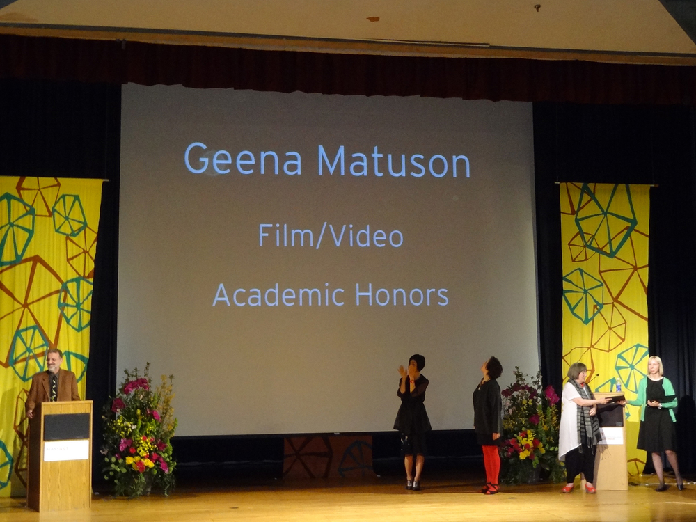 Geena Matuson receives Academic Honors and an award from the Film/Video department at MassArt, 2013.