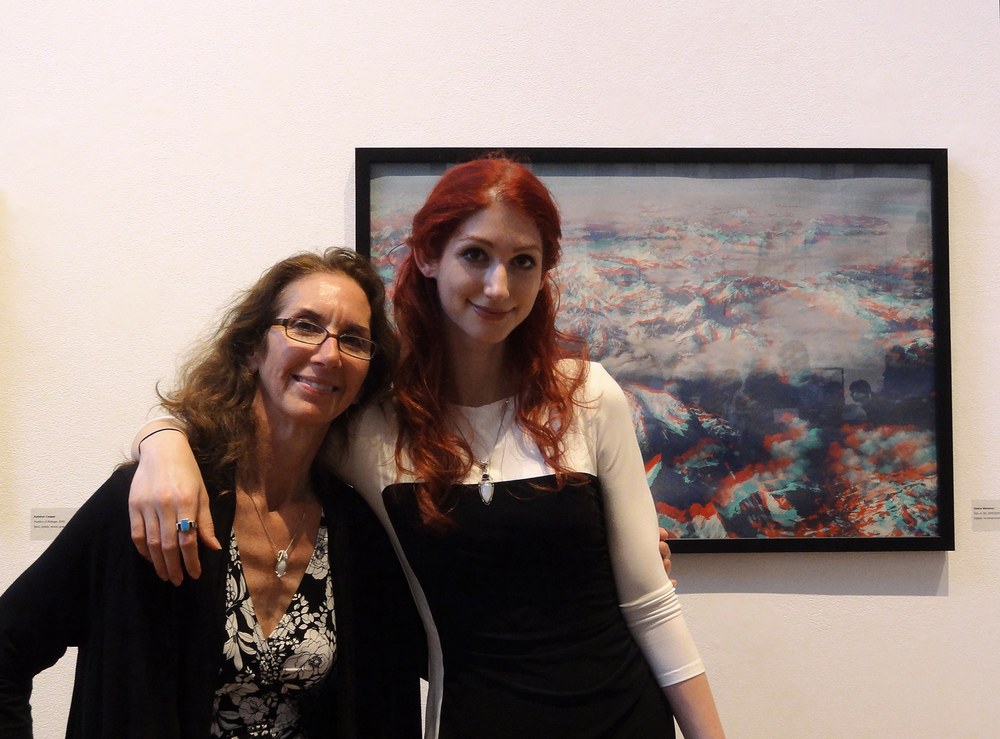 Geena Matuson (@geenamatuson) and mom beside framed work 'Alps in 3D' in MassArt Graduating Senior Exhibition, 2013.