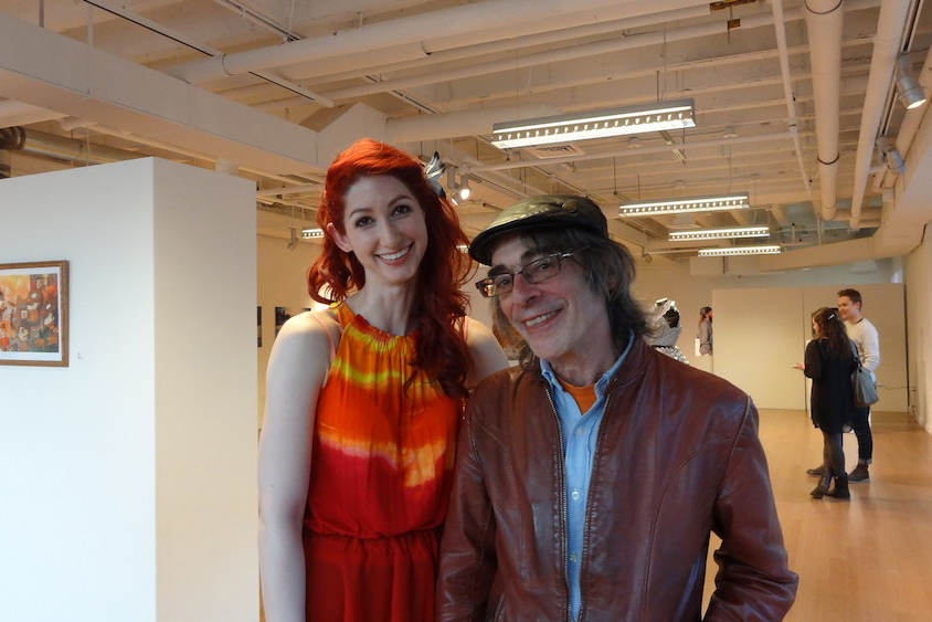 Geena Matuson (@geenamatuson) with MassArt Professor of Film/Video Saul Levine at Matuson's exhibition 'TransFIREmation', 2013.