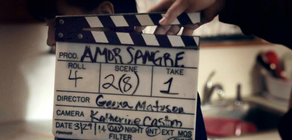 Screenshot showing slates for film Amor Sangre (2014), Dir. Geena Matuson (@geenamatuson).