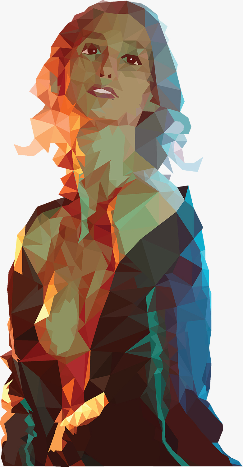 First attempt at low-Poly Portrait of Geena Matuson created using Adobe Illustrator, 2015.